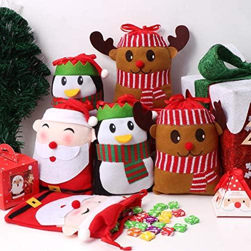 Tuscom 10 PCS Christmas Presents Basket Christmas Candy Bags Christmas Gift Bags Portable Santa Apple Gift Bag Wedding Candy Tote Bag Christmas Santa Pants