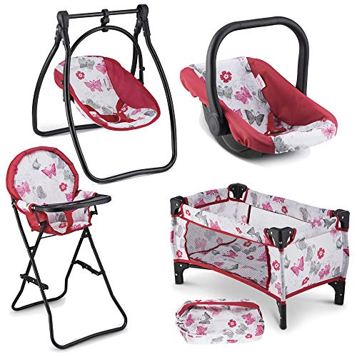 Litti Pritti 4 Piece Set Baby Doll Accessories - Includes Baby Doll Swing, Baby Doll High Chair, Doll Pack N Play, Baby Doll Carrier - 18 inch Doll Accessories for 3 Year Old Girls and Up (Renewed) ()
