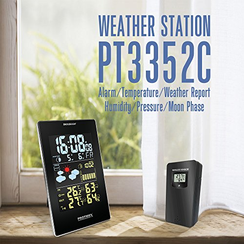 Wireless Weather Station, Protmex EM3352C Wireless Digital Color Forecast Station with Alerts Alarm Clock with Forecast, Temperature, Humidity, Barometric Pressure, with Outdoor Sensor Photo #4