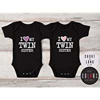 Twin Girl Outfits, I Love My Twin Sister Set of 2 Matching Bodysuits