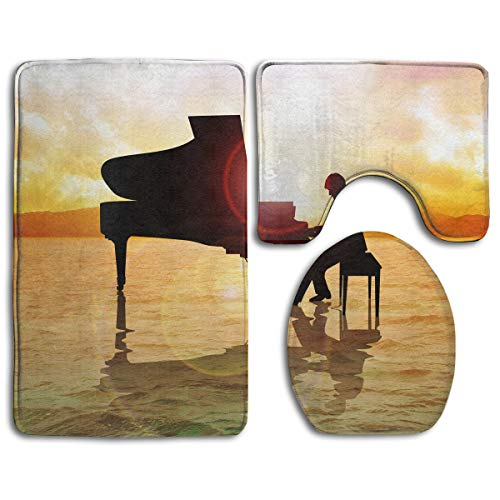 Piano Digital Art Bathroom Rug Sets 3 Piece Non-Slip Floor Mat Contour Rug Toilet Lip Cover
