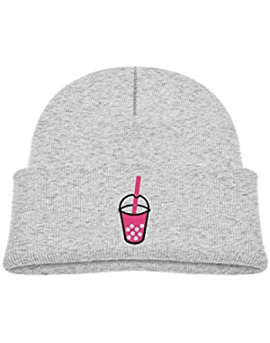Kids Knitted Beanies Hat Bubble Tea Drink Winter Hat Knitted Skull Cap for Boys Girls Pink