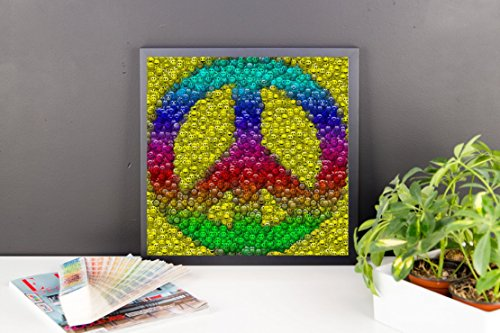 Big Framed Peace Sign Smiley Face Folk Mosaic