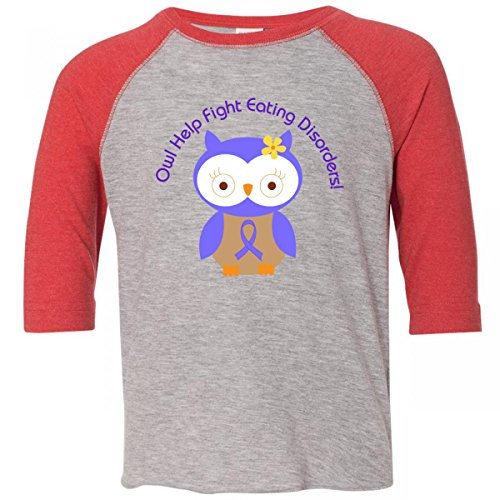 Inktastic Little Boys' Eating Disorders Owl Awareness Toddler T-Shirt 4T Heather and Red