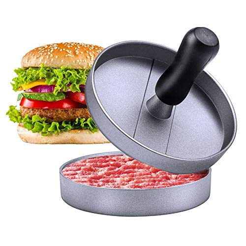 - E-PRANCE Hamburger Press Aluminum Burger Press, Heavy Duty Non-Stick Hamburger Patty Maker, Perfect Hamburger Mold Ideal for BBQ Grill - 30 Wax Papers Included