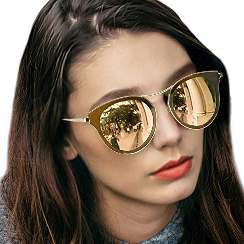 LVIOE Cat Eye Women's Sunglasses, Polarized Fashion Vintage Eyewear for Driving - 100% UV400 Protection (Crystal Brown Gold Mirror Cat Eye ()