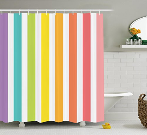 Ambesonne Modern Decor Shower Curtain by, Circus Theme Rainbow Colored Image Bold Stripes with Blank Background Image, Fabric Bathroom Decor Set with Hooks, 70 Inches, - Stripes Curtain Rainbow