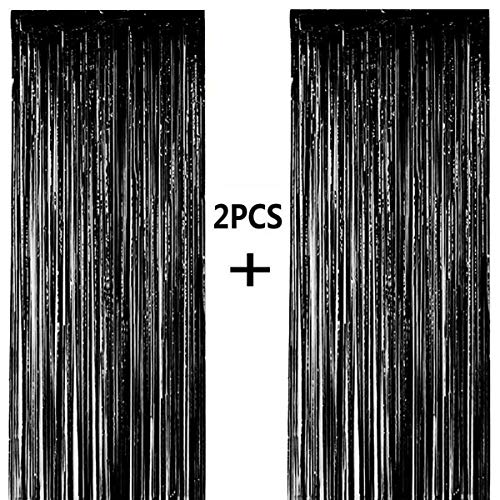 ONUPGO 2 Pack 3.28 ft x 9.8 ft Black Foil Curtains Metallic Tinsel Fringe Curtain Photo Booth Props Backdrop Curtain Perfect for Birthday Wedding Baby Shower Christmas Holiday Party Decorations ()