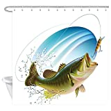 Bass Fishing Shower Curtain JAWO Fishing Shower Curtain, Largemouth Bass is Catching a Bite Bathroom Curtain, Polyester Fabric Bath Curtains with Hooks 69W X 70L Inches