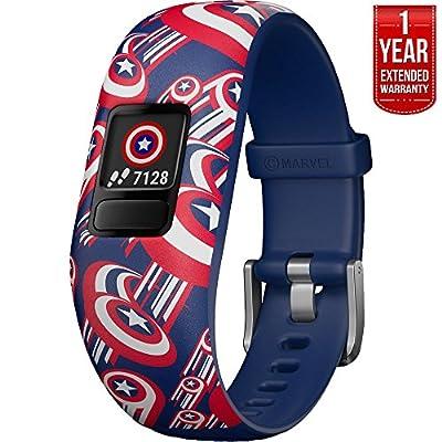 Beach Camera Garmin Vivofit jr. 2 - Stretchy Adjustable Activity Tracker for Kids + 1 Year Extended Warranty (Captain America)