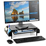 Bextsware Metal Desk Monitor Stand Riser, Desktop Organizer Printer Stand Holder with Pull Out Storage Drawer and Side Compartments Pockets for Computer, Laptop, iMac, Pens, Phones, Calculators