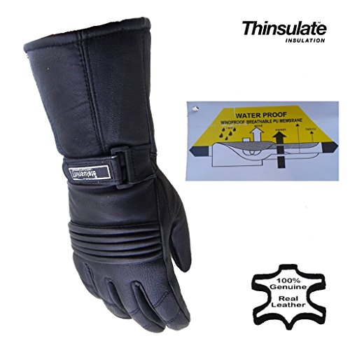 Herren Thermo-Handschuhe Leder Wasserdicht Innenfutter Für Motorrad & Winter Thinsulate - M