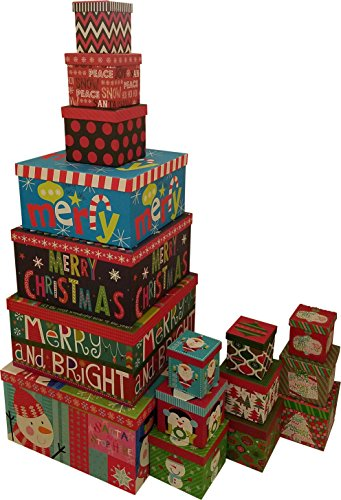 Christmas Boxes, 16 Count Nested, Assorted Large Set with Many Sizes and Prints, fits in one Box (Merry & Bright)