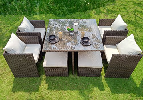 WEATHERPROOF Outdoor Patio 9-piece Furniture Dining Set, All-Weather Wicker