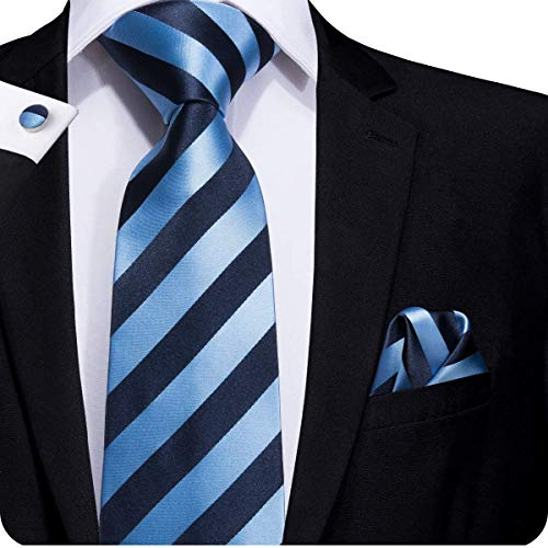 Hi-Tie Mens Blue Stripes Tie and Pocket Square ()