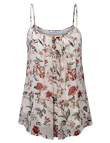 Messic Women's Summer Sleeveless Chiffon Blouse Cami Top Apricot Floral X-Large