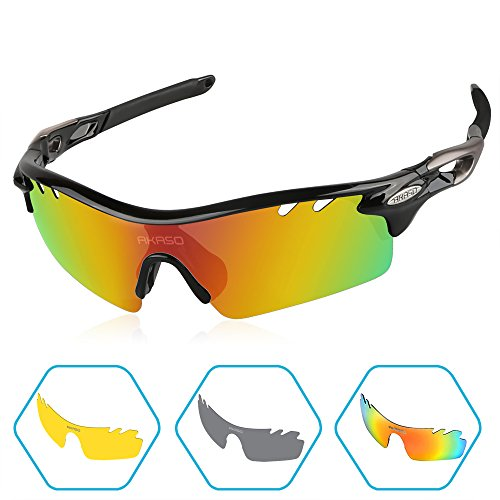 AKASO Men's Tripolar Sport Sunglasses, 3 Polarized Interchangeable Lenses, 100% UV Protection, Cycling Sunglasses (Bright Black))
