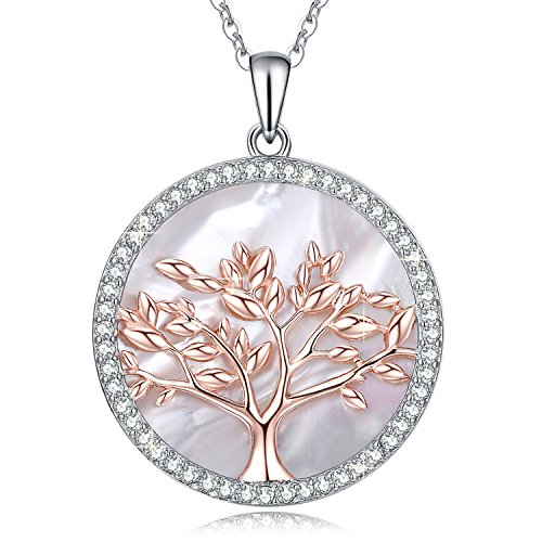 Swarovski Crystal Pearl Necklace - MEGACHIC Tree of Life Women's Sterling Silver Mother of Pearl Pendant Necklace Crystals from Swarovski
