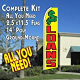 LOANS (Yellow) Flutter Feather Banner Flag Kit (Flag, Pole, & Ground Mt)