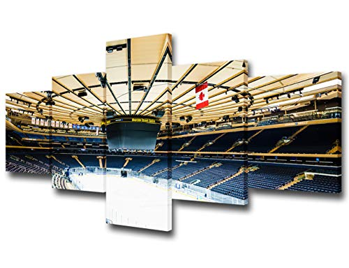 Art Work for Home Walls Madison Square Garden Pictures for Living Room NHL American Hockey Paintings 5 Piece Canvas Wall Art Modern Artwork Framed Gallery-wrapped Stretched Ready to Hang - 50''Wx24''H