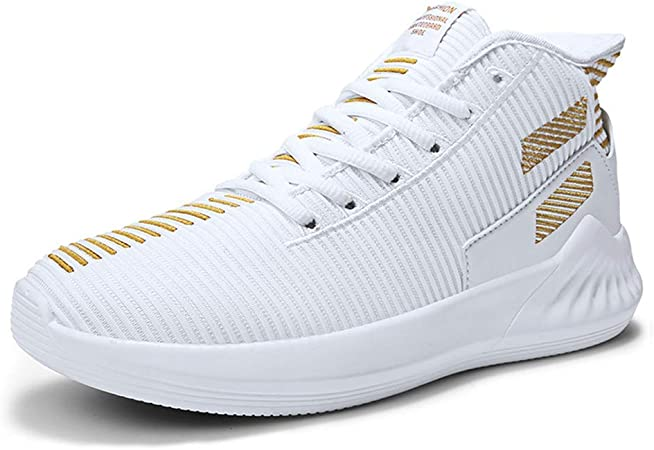 GXTING Zapatillas De Baloncesto para Hombre, Zapatillas De Baloncesto De Caña Alta Botas De Baloncesto De Absorción De Impactos Transpirables De Punto Zapatillas De Running,Blanco,43: Amazon.es: Hogar