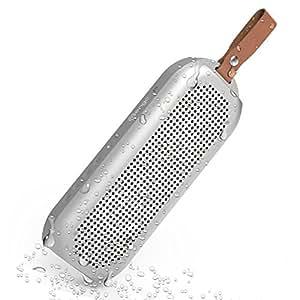 Mengo AquaPOD – Aluminum Waterproof / Outdoor Wireless Bluetooth Speaker [10-Watt Deep Bass Portable Speaker] with 12 Hour Battery Life - Silver