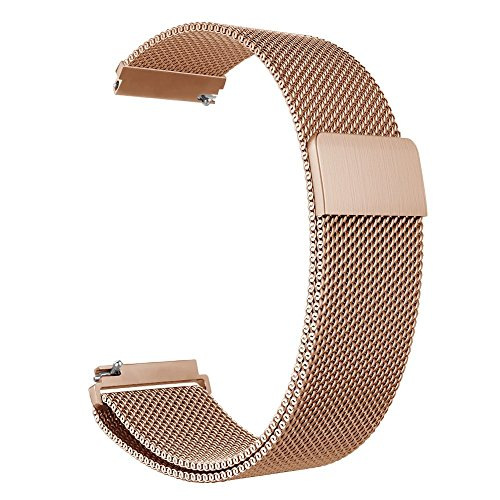 Baoking Compatible with Fossil Band, 18mm Watch Strap Metal Stainless Steel Mesh Band, Replacement for Fossil Gen 3 Q Venture/Gen 4 Q Venture HR (Rose Gold 2, - Bands Stainless Fossil Steel