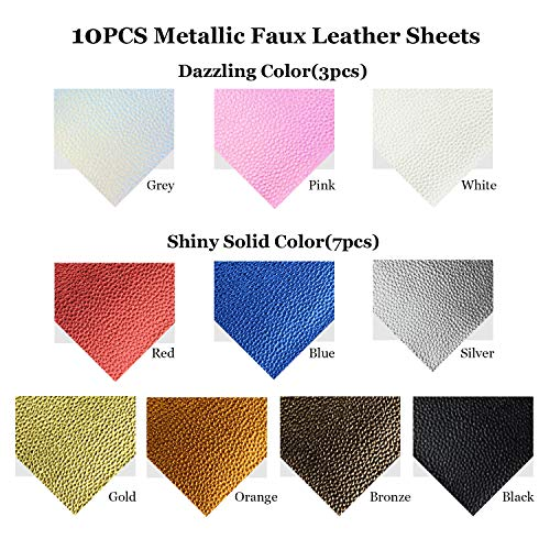 10pcs Metallic Faux Leather Sheets + 10pcs Double Sided Litchi Synthetic Leather Fabric Sheets(6''x 6'') with 140pcs Earring Hooks, 140pcs Jump Rings, Pliers and Cut Molds for Earring Making Crafts by SIMPZIA (Image #1)