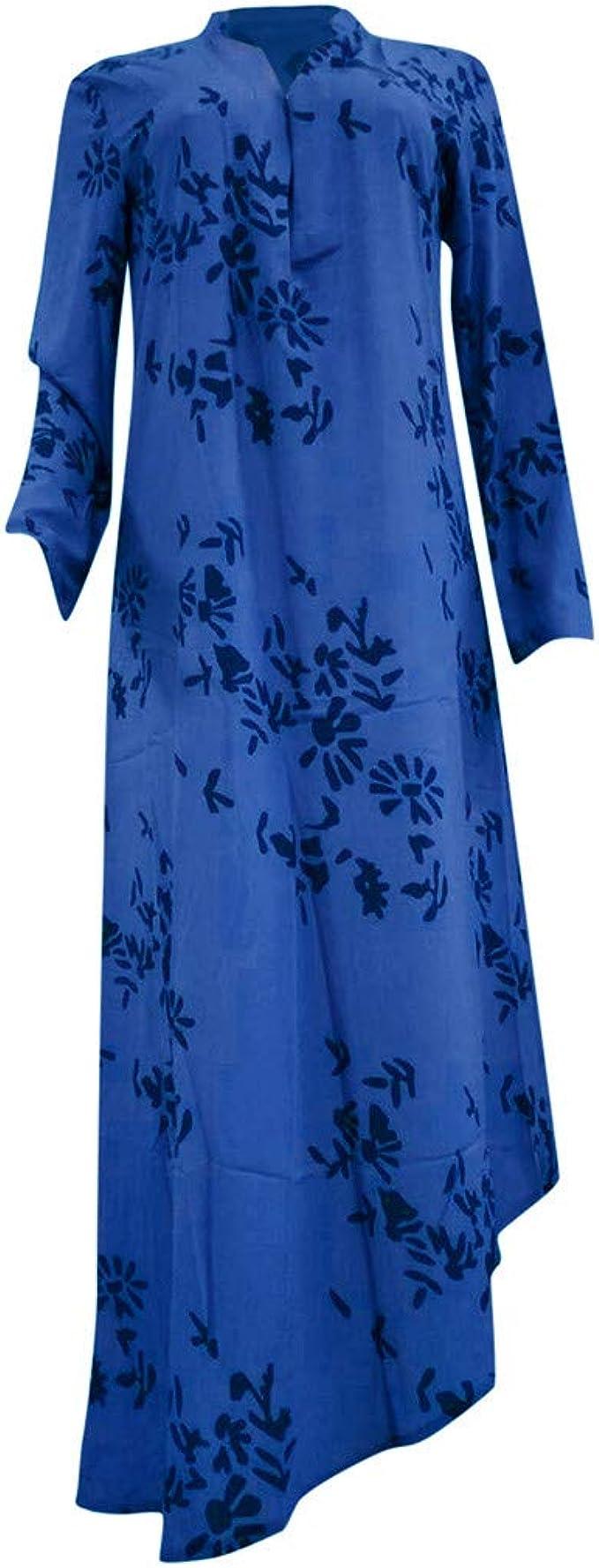 Feifish Robe Blanche Robe De Soiree Longue Ceremonie Femme Boheme Kaftan Robe Longue Maxi Coton Col V Mangches Longue Imprime Floral Tunique Robe Vrac