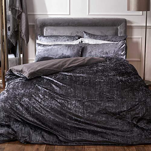 Sienna Crinkle Full Crushed Velvet Duvet Cover with Pillowcase Valencia Bedding Set, Charcoal Grey - Superking (Velvet Duvet Cover Black)