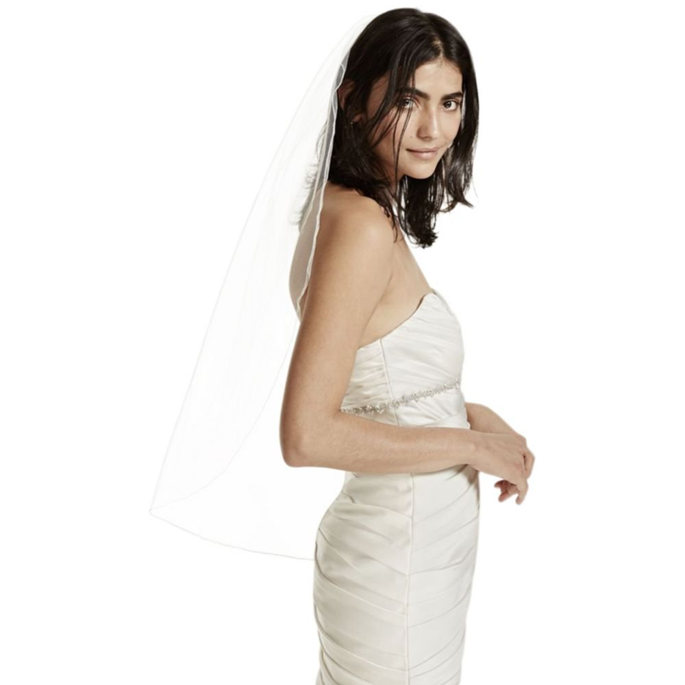 One Tier Tulle Fingertip Veil with Pencil Edge Style 850, Ivory
