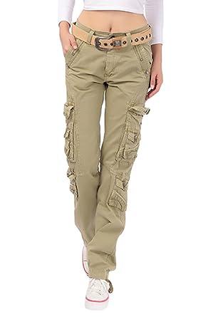 204cb623c3b3 YouPuer Femme Pantalon Cargo Multi-Poches Slim Sport Casual Pantalon Chino  Solide Couleur  Amazon.fr  Vêtements et accessoires