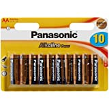Panasonic - Batterie Alcaline, mantiene la carica fino a 7 anni in caso di non utilizzo - 10 pezzi