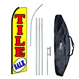 ''Tile Sale (Extra Wide)'' 12-foot Swooper Feather Flag and Case Complete Set...includes 12-foot Flag, 15-foot Pole, Ground Spike, and Carrying/Storage Case