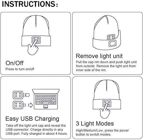 51DP5INHEmL ATNKE LED beleuchtete Bluetooth-Beanie-Kappe, wiederaufladbare USB-Musikalische Laufmütze mit extrem hellem 4-LED-Licht…