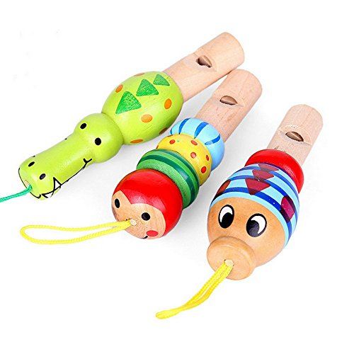 3PCS Cartoon Animal Whistle Baby Wooden Toys Beautiful Pendant Children Educational Musical InstrumentsToys 3-6 Years (Bulk Train Whistles compare prices)