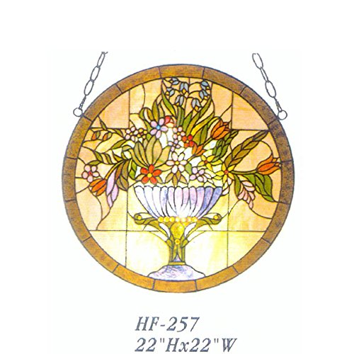 HF-257 22 Inch Vintage Tiffany Style Handmade Stained Glass Church Art Blooming Flowers with Torus Window Hanging Glass Panel Suncatcher by Gweat Window Hanging