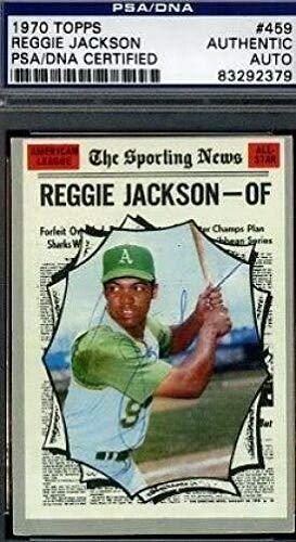 (Reggie Jackson Vintage Signed 1970 Topps Certed Autograph Authentic - PSA/DNA Certified - Baseball Slabbed Autographed Cards)