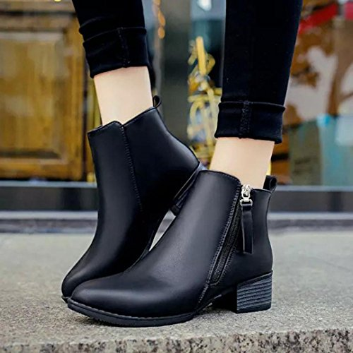 AMA(TM) Women Vintage Snow Ankle Boots Low Heels Martin Boots Side Zipper Shoes Black oYmXvk5Z
