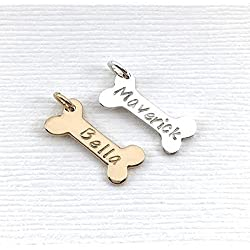 Personalized Dog Bone Charm in Gold or Silver, Engraved Dog Name Bracelet or Necklace Add a Charm, Dog Loss Pet Memorial Gift