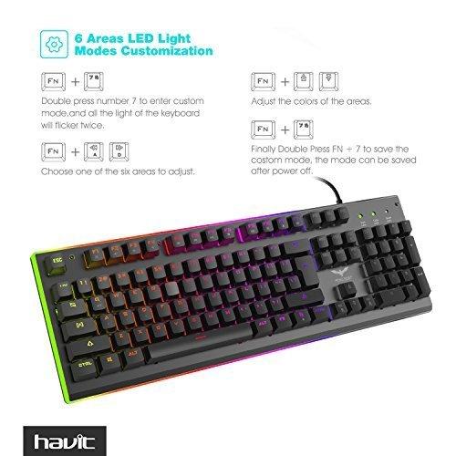 havit rgb backlit wired membrane gaming keyboard import it all. Black Bedroom Furniture Sets. Home Design Ideas