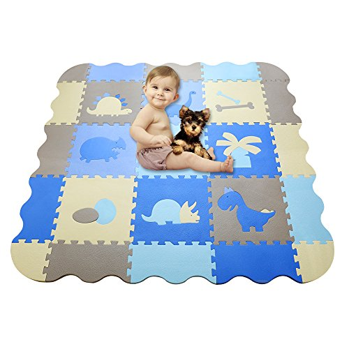 HAN-MM Baby Foam Mat with Fence Thick (0.56″) Non Toxic Crawl Mat Baby Tiles Play Puzzle Mat with Softer Thicker EVA Foam Mat for Kids Toddlers Babies Playrooms/Nursery Tummy Time and Crawling Bule For Sale