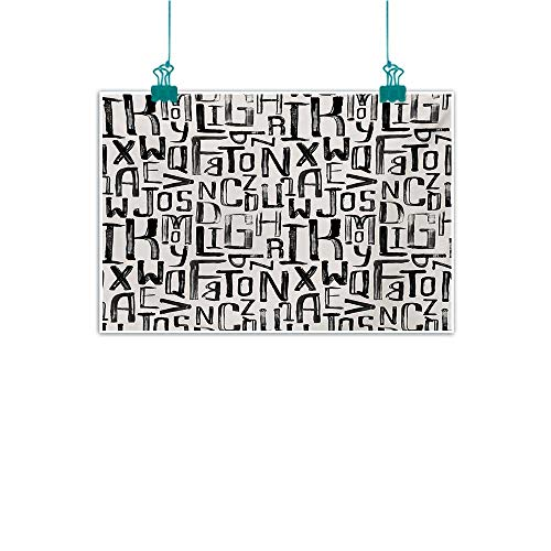 Light Luxury American Oil Painting Grunge Artsy Small Large Grunge Letters in Random Sizes Pattern Alphabet Modern Natural Art W24 xL16 Charcoal Grey White