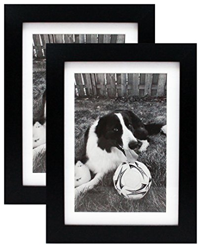 Two 5x7 Black Gallery Picture Frames with Mat to 4x6 - Wide Molding Frame - Includes both Attached Hanging Hardware and Desktop Easel - Display 5 x 7 or 4 x 6 Family Pictures - Wall or Tabletop by Smashed Banana