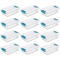 Sterilite 19618606 Small Clip Box Clear Storage Tote Container w/Lid (12 Pack)
