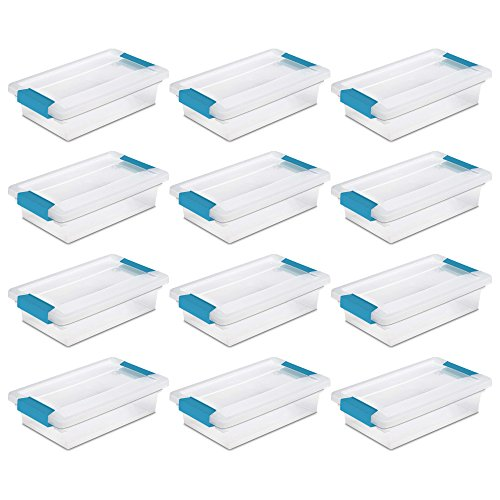 Sterilite 19618606 Small Clip Box Clear Storage Tote Container w/ Lid (12 Pack)