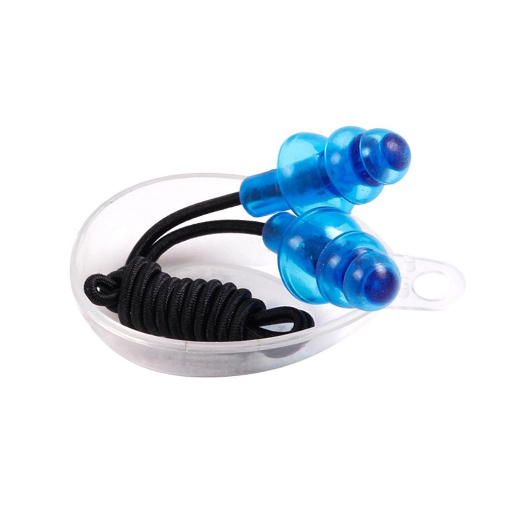 Artistic9 Swim Bouchons d'oreille, flexible, souple en silicone Bouchons d'oreille Bouchons d'oreilles anti-perte de natation avec cordon, y compris é tui de rangement, Silicone, bleu, Earplug Size:about 3cmx1.5cm(LxW) Artistic9(TM)