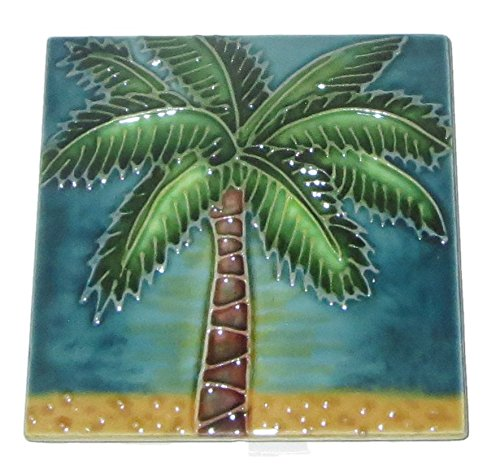 Tile Palm Ceramic Tree - Continental Art Palm Tree Art Tile Decorative Ceramic 4 Inch by 4 Inch Beach SD-211