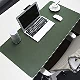 BUBM Desk Pad Protecter 23.6'' x 15.7'', PU Leather Desk Mat Blotters Organizer with Comfortable Writing Surface (Green+Gray, 23.6'' x 15.7'')