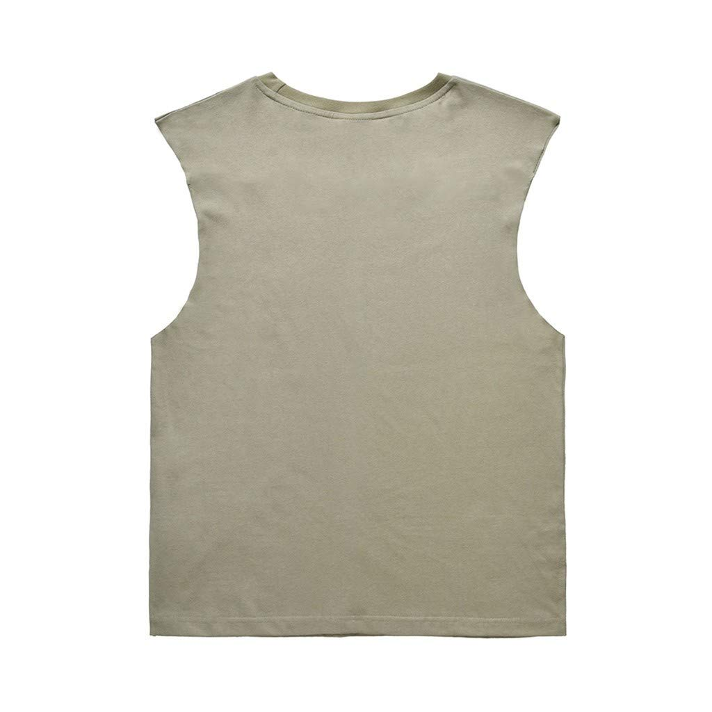 Mens Fashion Loose Version Printing Tank Top Pullover with Round Neck Vest